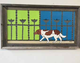Dog waking/ puppy/love animal.  Dog original art acrylic paint frames reclaimed wood frame,i walk myself.  Dog strollkng bright wall