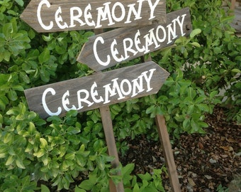 Set of 3 Rustic Wood Wedding Directional Stake Signs Western Bridal With Arrow Ceremony Reception Parking