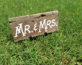 Rustic Western Country Bridal Wood Wedding Sign Mr and Mrs Photo Prop Ready to Ship