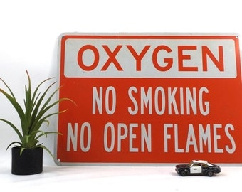 vintage 90s metal oxygen sign red and white industrial no smoking open flames rectangular wall hanging urban home decor decorative man cave