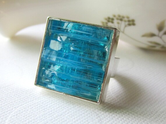 Sky Blue Ring Large Cocktail Ring Statement Ring Silver Band Bright Blue Ring Mosaic Ring Stained Glass Ring Blue Inlayed Ring Square Ring