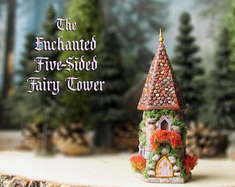 The Five-Sided Enchanted Fairy Garden Tower - Miniature Handcrafted Stone Tower with Three Windows, Tile Roof, Fairy Door and Golden Finial