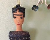 Frida Kahlo Doll - Frida Doll - Frida Kahlo Art Doll - Folk Art Inspired Ornament - Frida Ornament - Folk Art Doll - Black & Gold Sari Skirt