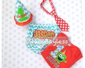 Party Outfit for Monster theme - Diaper Cover - Tie - Party Hat - Shirt for Cake Smash First Birthday