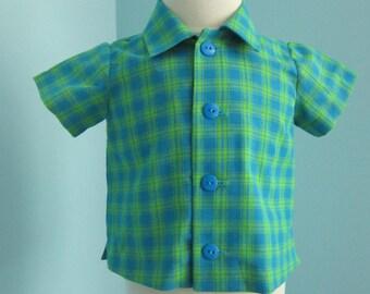 Toddler Boy's Button Plaid Short Sleeved Shirt