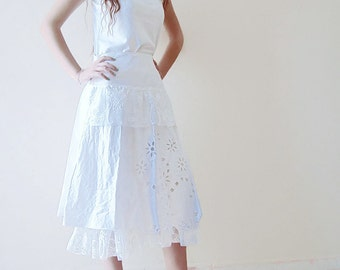 White Cotton Skirt cut out work Recycled Upcycled White fuffle skirt, White Women clothing
