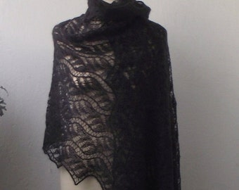 Black hand knitted lace stole ,luxury kidsilk  shawl, XL size