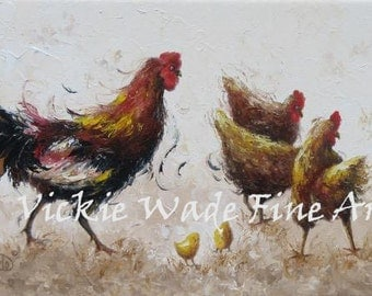 Rooster Painting ORIGINAL 12X36, rooster paintings, chicken paintings, rooster decor, rooster wall art, chicken decor, Vickie Wade Art