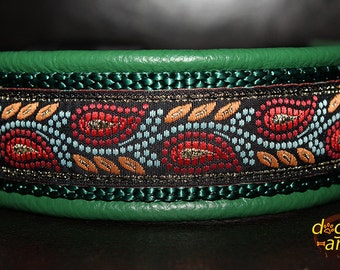 Handmade Easy Release Buckle Leather Dog Collar LEAVES by dogs-art in green/forest/leaves orange