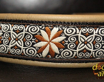 Handmade Easy Release Aluminum Buckle Leather Dog Collar PINWHEEL ZINNIA by dogs-art in olive/black/zinnia brown