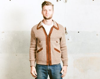 Mens CARDIGAN . size Small to Medium . Knit Suede Jacket Rockabilly Vintage 70s Brown Retro Hipster Sweater Bomber Jacket