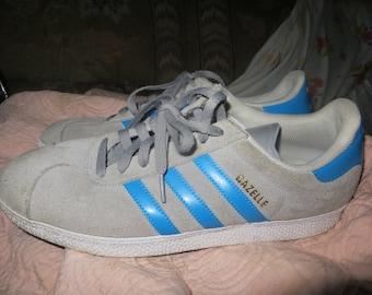 retro  ADIDAS 3 STREIFEN BRAND gazelle adidas  gray suede blue stripes mens sneakers athletic   sz 11 .5  men