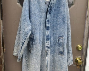 80s OVERSIZED  Acid Wash  long Duster, 1980s Grunge Duster, Acid Wash  , Acid Wash Jean Duster Coat,  Denim Coat,  large  to xl