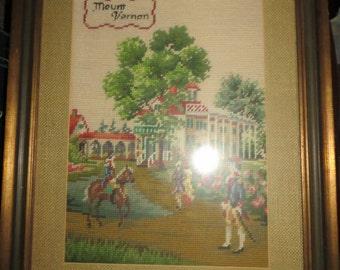 antique wood   framed needlepoint  FOLK   art Mount Vernon  with  COLONIAL soldiers