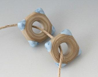 Southwest Square Pair - (2) Handmade Lampwork Beads -  Denim, Khaki - Etched, Matte