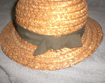 vintage forties straw hat by New York Creations  with brown ribbon
