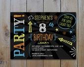 Black and Neon Invitation / Teen Birthday Neon Colors / Laser Tag Invitation / PRINTABLE INVITATION / #10365