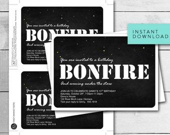 Bonfire Invitation / Night Under the Stars Bonfire / Birthday Bonfire / EDITABLE TEMPLATE / 8186