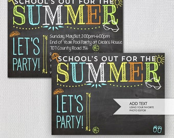 Summer Party Invitation / Printable School's Out Chalk Invitation/ Instant Download  / Blank JPEG / INVITATION TEMPLATE / #42548