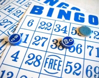 Vintage Bingo Cards & Game Pieces / Blue