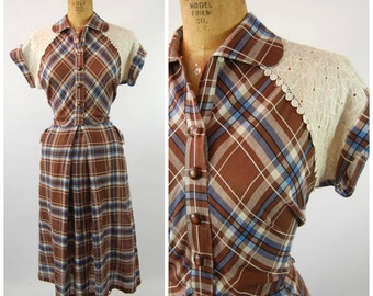 Early 50s Plaid Cotton Dress - late 40s Cotton Dress - Post war - Hip Pockets - Cotton Day Dress