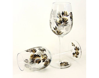 Hand-Painted CRYSTAL Wine Glasses - Elegant Gold and Black Roses Set of 4 Ready to Ship - Personalized 50th Anniversary Wine Glass Gift Set