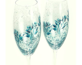Bridesmaid Champagne Glasses - Hand Painted Flutes Silver Teal Blue Roses Set of 6 - Custom Bachelorette Party Gift Sparkling Wine Glass
