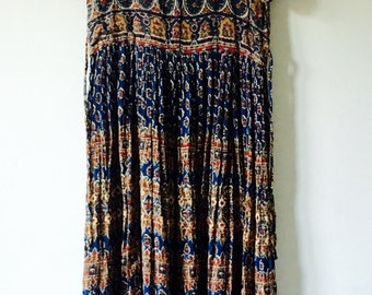 70s Indian Vintage Dress • Cotton Dress • Free Size Dress • Gauze Cotton Dress
