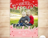 Valentine's Day Photo Card - Valentine Card - Printable Valentine Photo Card - Pink Red Watercolor Hearts - PERSONALIZED & PRINTABLE