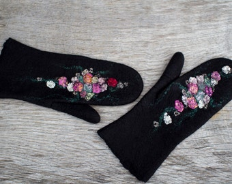 Black wool mittens felted merino gloves with silk flowers pink green roses winter mittens arm waarmers women gloves Christmas gift