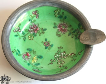Vintage Asian Porcelain Ashtray with Pewter Trim - Green and Floral Hand Painted Design
