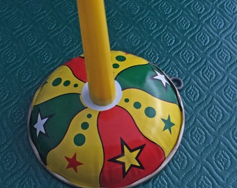 Tin Noisemaker- Vintage New Year- Celebration- Ringer Noise- Midnight- New Years Eve- Party- Christmas Clanger- Tin Stars- Excellent Shape-