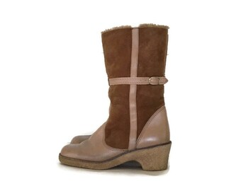 Vintage 1970's Shearling Boots, Winter Boots, Leather and Suede Boots, size 9 1/2, Made in Canada