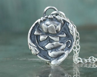 Lotus Necklace, Sterling Silver, Buddhist Jewelry, Art Nouveau, Om Symbol