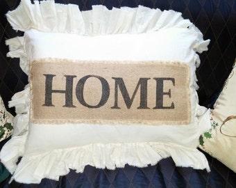 Pillow Slip Cover Pillow Sham  Burlap Muslin Pillow Sham PILLOW CASE w/ HOME design