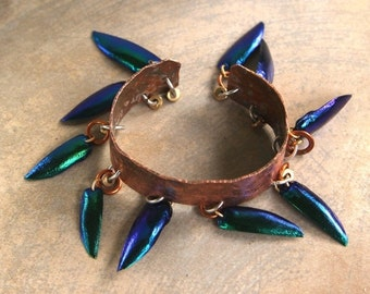 On Sale Hammered Copper Cuff Bracelet with Iridescent Beetle Wing Dangles Shimmering Blue-Green Elytra Wings on Rustic Raw Copper