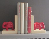 handcrafted bookends - Elephants - quirky animals - bookshelf decor