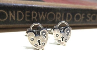 Antique Silver Padlock Cuff Links - Heart Working Lock Love Cufflinks - Antiqued Silver - Soldered Wedding Anniversary