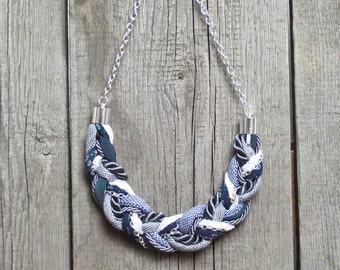 ROPE necklace, statement necklace, fabric necklace, gift ideas, blue grey braided necklace