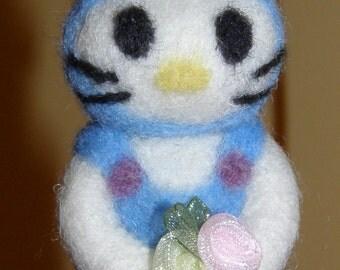 Hello Kitty Inspired Bunny Ornament in Needle Felted Wool