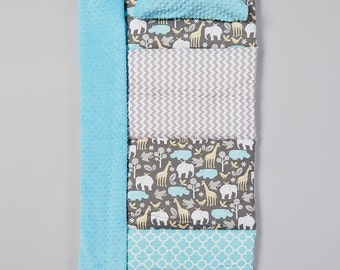 THICK, It's a Zoo Boy Giraffes, Hippos, Quilted Nap Mat by Janiebee, Toddler Nap Mat, Boutique Nap Mat, New for 2016