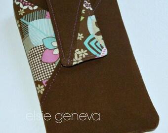 Phone Case with Belt Clip Solid Brown Floral Damask Design Purple Green Aqua Blue - Optional Wristlet or Shoulder Strap Cross Body SALE