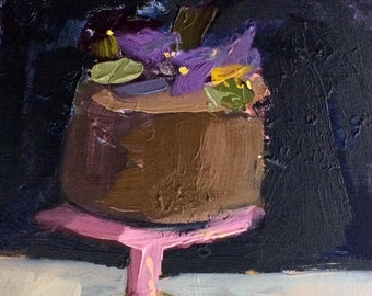 Chocolate Cake with Pansies Art Print Dessert Sweets by Angela Moulton 8 x 10