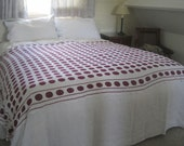French crocheted bedspread, cover, white and burgundy cotton, double size.  Or a lovely tablecloth, sofa throw