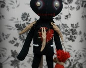 VOODOO doll ZEMI Goth primitive folk art Doll OOAK Darkcreepy cute Emo collectable