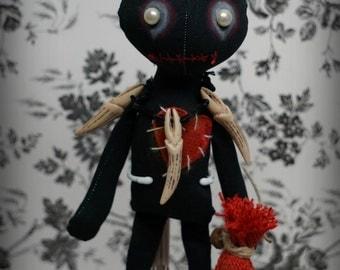 VOODOO doll ZEMI Goth primitive folk art Doll OOAK Darkcreepy cute Emo collectable