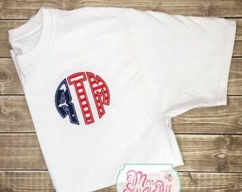 Custom 4th of July Monogram Shirt, 4th Of July Shirt, 4th Of July Monogram Design, Red, White, and Blue Shirt