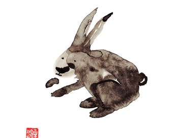 Zen Rabbit Chinese Zodiac, Year of the Rabbit, Original Zen Art Sumi ink Painting, zen decor, japanese illustration, child's nursery art