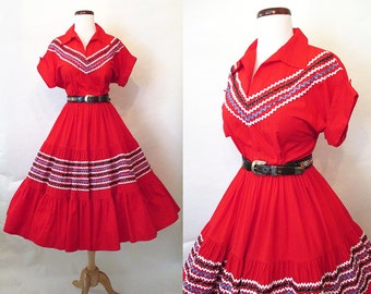 CLEARANCE  Western Swing 1950's Lipstick Red Patio Squaw Dress Rick Rack Rockabilly Patsy Cline Vintage Western Pinup Girl VLV Size-Small