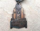 Art Deco Medal LA County Fair Dairy Award Antique Jewelry Craft